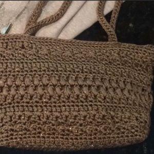 The Sak sparkle taupe polypropylene crotchet purse